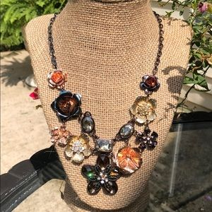 Statement Necklace in Copper Brown Gold